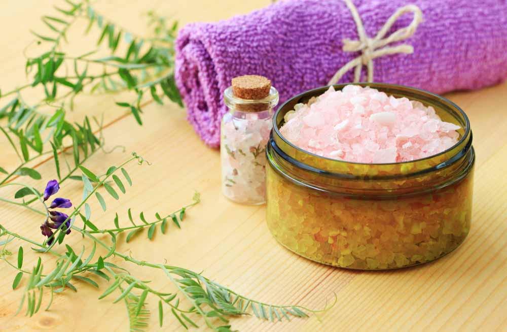 bowl of epsom salt with a towel