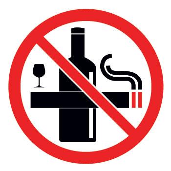 Señal de prohibido tabaco y prohibido alcohol