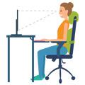 Postura correcta de una mujer sentada