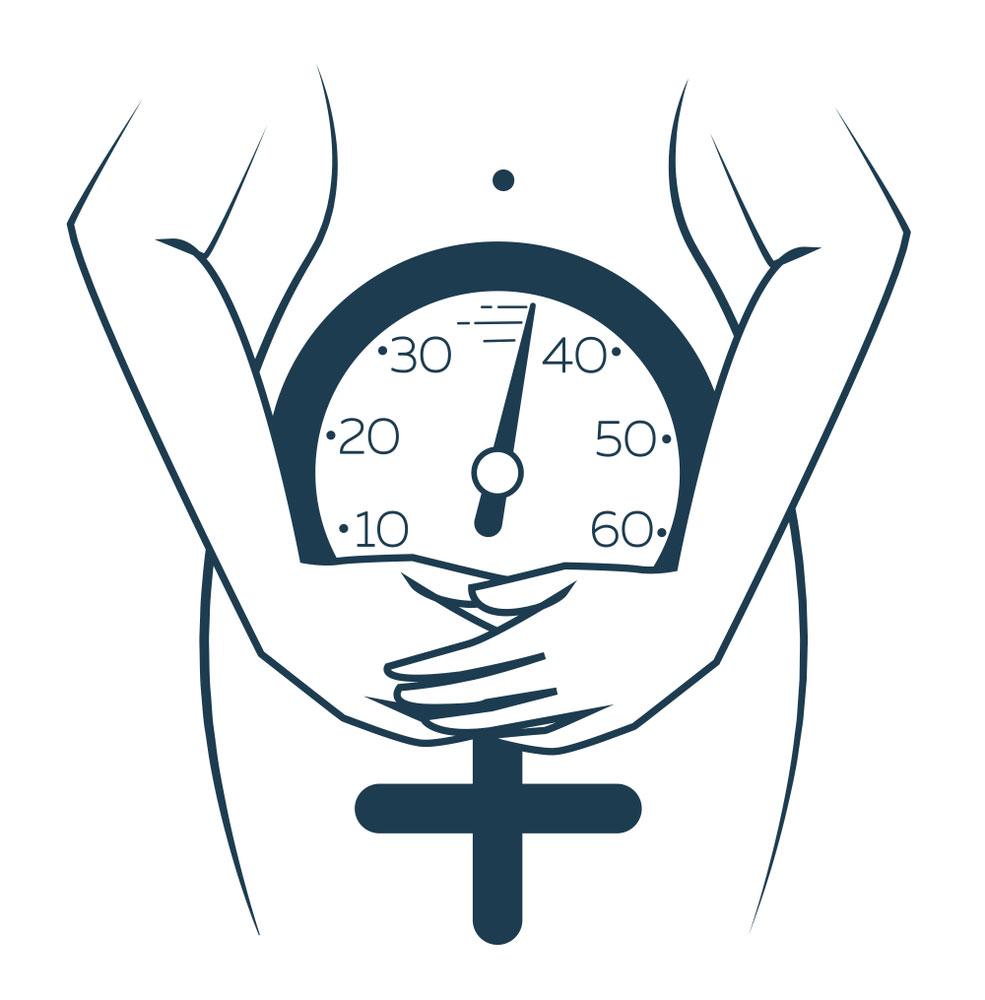 Silueta de mujer con reloj biológico