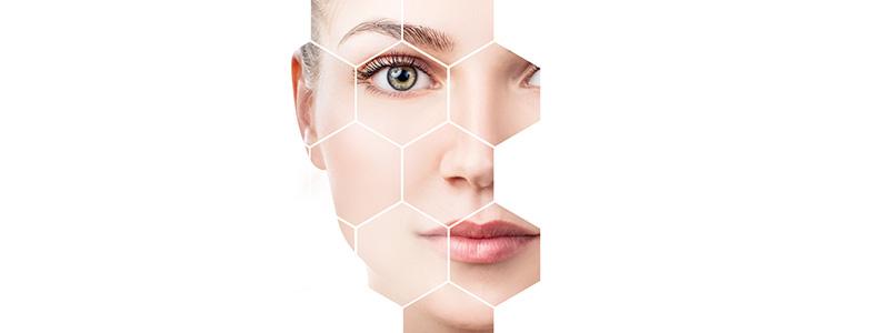 Piel facial de una mujer joven con un buen colágeno
