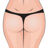 Secuencia de ejemplos de celulitis parte trasera de una mujer